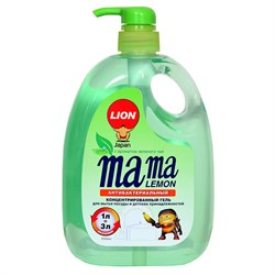 Mama Lemon Гель для мытья посуды и детских принадлежностей зеленый чай 1 л - фото 7290