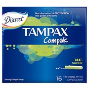 Tampax Compak Тампоны женские гигиенические с аппликатором Super duo 16 шт